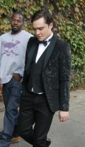 ed westwick on set in sequin tuxedo.