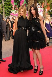 carine roitfeld and julia restoin-roitfeld. cannes 2008.