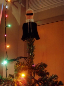 the angel on my christmas tree, karl lagerfeld.