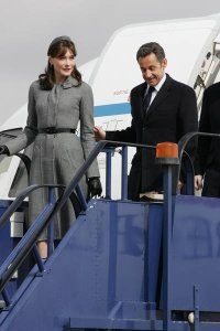 carla bruni and nicolas sarkozy arrive in britain. march 2008. solarpix/pr photos.